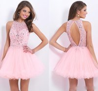 Wholesale Sexy Pink Tulle Short Party Dresses Occasion Dress Lace Beaded Crystals Rhinestones Mini Backless Prom Cocktail Gowns Custom Made