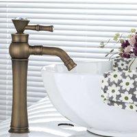 Wholesale Bathroom Faucet Antique Brass Swivel Bathroom Basin Sink Mixer Tap faucet Crane hot and cold water mixer
