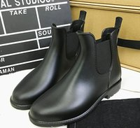 ankle high wellies - New Fashion women Jelly Ankle High Martin U Rain Boots Short Black Rubber Wellies Rain shoes gift drop shipping