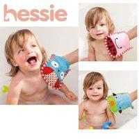 Wholesale 2015 New Styles Zoo Design Soft Baby Bath Brush Cotton Newborn Baby Wash Mitt