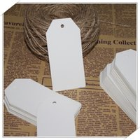 Wholesale 45x95MM Kraft Paper Tag With String DIY Blank Hang Tag Blank Gift Tag Label Marks Decorations Wedding Gift