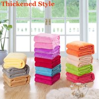 Wholesale Top Quality Colors cm Solid Coral Fleece Blanket Plaid Couverture Polaire Manta Para Sofa Throw Blankets On Bed Portable Mantas