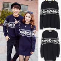 womens jumpers - Womens Sweater Dress Mini Mens Knitted Tops Pullover Jumpers Sweaters Coats Lovers Couples Clothing Snowflake Spring Autumn Navy Blue