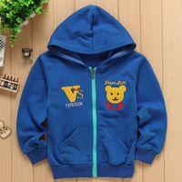 Wholesale 2016 The New Fashion Children Blue Cute Printing Coat Children Bear Head Pattern Zipper Jacket Thin Coat Cardigan Years Old C