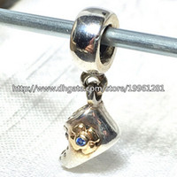 baby real gold bracelet - High quality Baby Bootie Dangle Charm Sterling Silver K Real Gold Bead with Blue Cz Fit European Pandora Jewelry Bracelets Necklaces