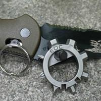 Wholesale Hot Sale multi function stainless steel EDC toos function screwdriver key ring bottle opener bicycle adjust tools