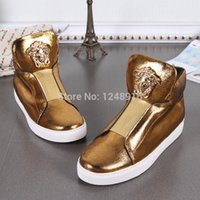 autumn metal band - Brand Genuine Leather High Top Men Sneakers Autumn Casual Men Ankle Boots Gold Metal Decoratino