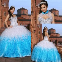 Wholesale New Unique White Blue Quinceanera Dresses years Ruffled Organza Sweethetr Sparkling Beaded Pageant Party Ball Gown