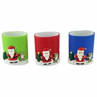 Wholesale Creative Christmas Round Office Home Plastic Polymer Clay Penholder Pen Pencil Eraser Students Stationery Holder Desk Organizers