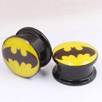 batman earrings for men - Black Acrylic Batman Superman Logo for Man Woman Punk Earring Plugs Piercing Cartilage Tragus Ear Gauges Flesh Tunnel
