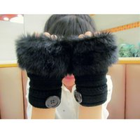 Wholesale New fashion buttons striped faux rabbit fur knitted Gloves Lady s Winter warmer Fingerless gloves Half fingers Gloves women Hand