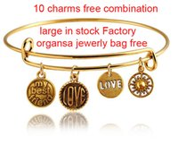 Wholesale Antique Alex And Ani Expandable Wire Ring Charms Bangles Pendants Free Combination Statement Bracelets For Women Jewelry Bag Free Stocks