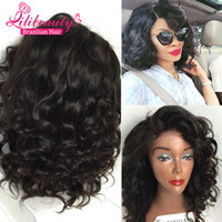 hand tied full lace wig - LiliBeauty A Quality Short Full Lace Human Hair Wigs For Black Women Brazilian Virgin Hair Glueless Bob Wavy Lace Front Wig With Baby Hair