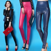 Cheap 2014 New Sexy Ladies Faux Leather Leggings Fashion Pants Black Leather Leggings Trousers