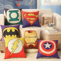 Wholesale New arrival good quality cartoon Batman iron man superman America Captain flash cotton linen throw pillow cushion cover x45cm