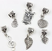 bees bracelets - 7Styles Tibetan Silver Owl Leaves Bee Dangle Big Hole Beads Fit European Charm Bracelet Jewelry DIY