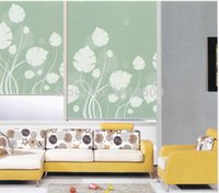 blinds - Finished roller blind polyester pass coated blackout flower pattern painting fabric MT5509 B