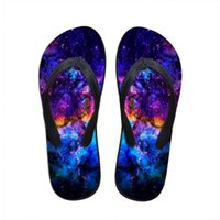 Wholesale New summer style universe star flip flops for women ladies flats beach slippers galaxy printing male flatform sandals