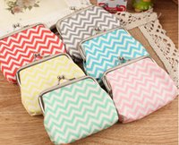 Wholesale NEW High quality Chevron wavy lines coin purse canvas key holder wallet hasp small gifts bag clutch handbag