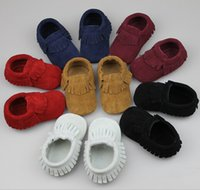 Wholesale Free Send By DHL EMS Pairs Genuine Leather Newborn Baby Infant First Walkers Suede Shoes Tassel Moccasins Soft Moccs Shoes
