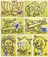 Wholesale 20sets cm Sand Painting with Color Sand Kids DIY Toys mixed Design send Sand Art Kit