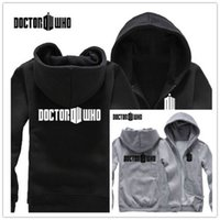 Wholesale Details about NEW Cosplay Doctor Who Tardis Costume black gray Casual zipper hoodies jackets