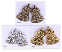 bells findings - OMH Antique silver golden bronze christmas bell pendant hot sale alloy Jewelry Finding DZ303
