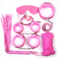 Wholesale New Set of Adult SM Hand cuffs Sex Games Toy Cosplay Bondage Fetish Restraint Whip Collar Cuffs BDSM