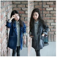 Wholesale Girls Denim Outcoat Solid Long Sleeve Button Cardigan Autumn New Casual Outwear Kid Clothes Black Blue D0010