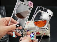 beer sampling - Sample Transparent Case Red Wine glasses Cocktail Beer Cup Mosaic Rhinestone phone cases for iphone case plus bling cover