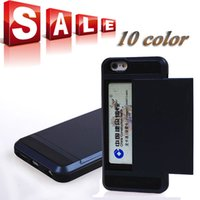 plastic card holder - For Iphone Plus Iphone6 Slide Card Box Holder Armor Heavy Duty Tough Hybrid Dual Hard Plastic Rubber Case Back Cover Phone Cases