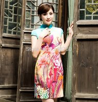 Wholesale Chinese women cheongsams female costumes Elegant modal summer fashion improved brand short sexy qipao dress