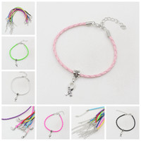 cancer ribbons - 40pcs Hope Breast Cancer Awareness Ribbon Charm Pendant Leather Rope Cham Bracelet Fit for European Bracelet Handmade Craft DIY