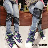 Wholesale Lowest Price Children Autumn Fashion Lace Splicing Jeans Kids Jeans Girl Pnts Children Denim Pants
