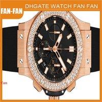 big rose quartz - BRAND Men s New Big Rose Gold mm Diamond Set mens Wrist Watch quartz japan Chronograph watches men watches men watch