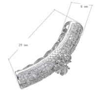 CZ Micro a pavé des perles en laiton tube courbé avec croix platine plaqué micro incrustation cubique Zirconia creux 8x29mm trou: environ 4.8mm 10pcs / lot