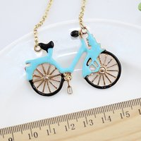 bicycle necklaces - Hip Hop Jewelry Blue Color Fashion Graceful Lovely Enamel Bicycle Choker Gold Necklace Chain Women Jewelry