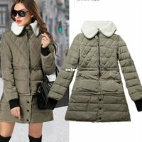 Wholesale plus size winter coat women hot down cotton padded jacket long lambs wool winter leisure feather coats