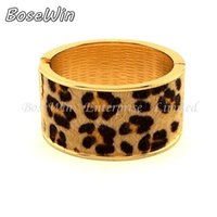 african leopards - 2015 New Fashion Leopard Horsehair Spring Opened Oval Wide Cuff Bangles Bracelet Women Statement Jewelry Nickle free BL197
