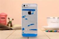 al por mayor iphone caso laberinto-I5 i6 Clear Droplet Funda para iPhone 5 5S 5G 6 4.7 '' Diversión dinámica de flujo líquido Natación Magic Maze Gotas de agua Quicksand cubierta transparente