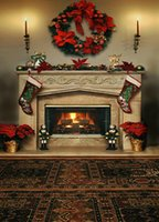 Wholesale 200cm cm ft ft Christmas garland Christmas stocking fireplace photography backdrops backgrounds for photo studio