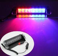 Wholesale 8 LED W Car led Light Strobe Light Car Strobe Light V Car Flash Light Emergency Warning Light High Power LED Emergency Lights RED Blue