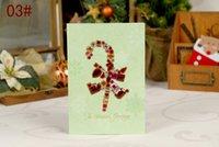 boxed greeting cards - Christmas Greeting Cards D Diamond Design Flashing Flower Christmas tree gift box Pattern Printed Christmas Greeting Cards
