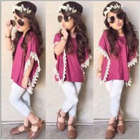 baby batch - 2016 new girl summer clothes shorts child baby girls Comfortable and breathable clothing cowboy suit batch Pink Tops White Pants suit