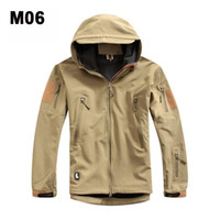 Wholesale Khaki Military Tactical Hiking Jacket Windproof Sharks Skin Jacket Top Quality Hiking Wears Camping Jackets Popular Hiking Outerwear On Sale