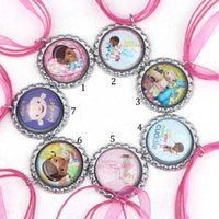 Wholesale 14 Styles Arrival Hot Pink Ribbon Necklaces Cartoon Princess Necklace for Baby Children Kids Flatback Glass Dome Pendants B001