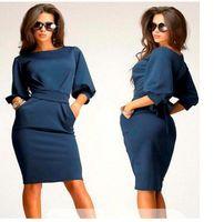 ladies clothing - Casual Dresses For Big Girls Dress Spring Summer Lady Solid Slim Fit Half Sleeved Puff Sleeve Dressy Women Clothing Khaki Blue I2918
