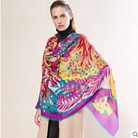 big pint - 140 cm new pure big winter cashmere wool scarf female shawl pashmina women floral pint extra large wool scarves