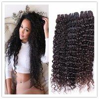 8A brésilienne profonde trames de Curl Virgin Remy Cheveux Extensions Couleur 1B Cheveux vague profonde Tissages 8 à 30 pouces 3 faisceaux