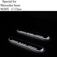 benz plate - Styling for Mercedes Benz W205 C class Car Styling LED pedal light pathway light Moving Door Scuff Door Sill Plate Cover Side lamp